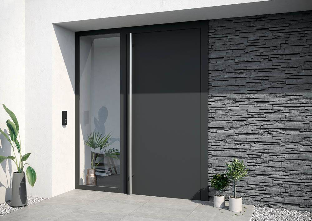 aluminium front door and side window for modern home porch area