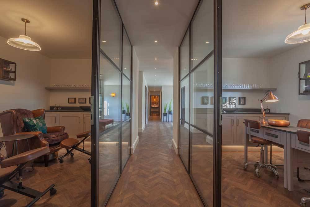 Internal wall dividers from aluminium glazed frames